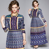 Fashion Printed Lapel Long Sleeve Slim Long Pleated Dress