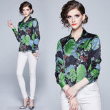New Women's Print Slim Long Sleeve Joker Lapel Shirt