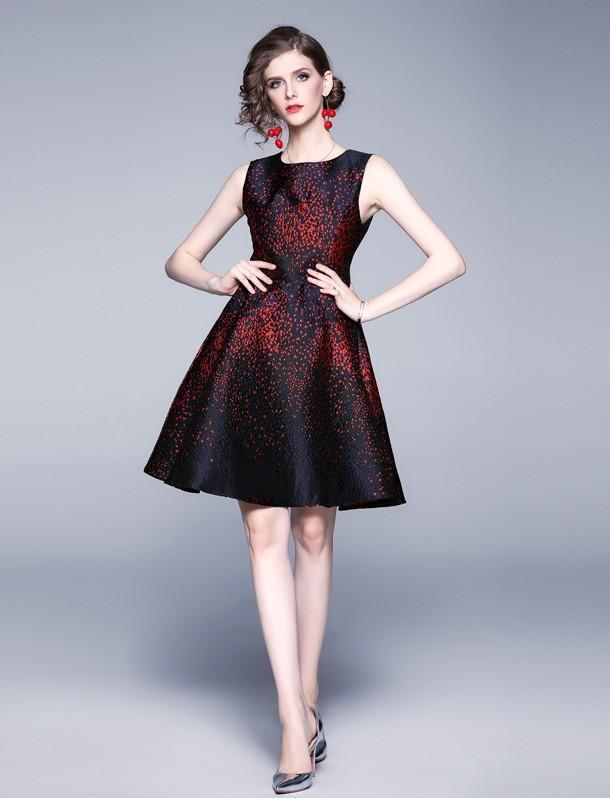 Fashion Star Jacquard Round Neck Sleeveless Dress