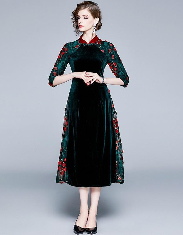 Fashion Lapel Velvet Embroidered Cropped Sleeves Long Dress