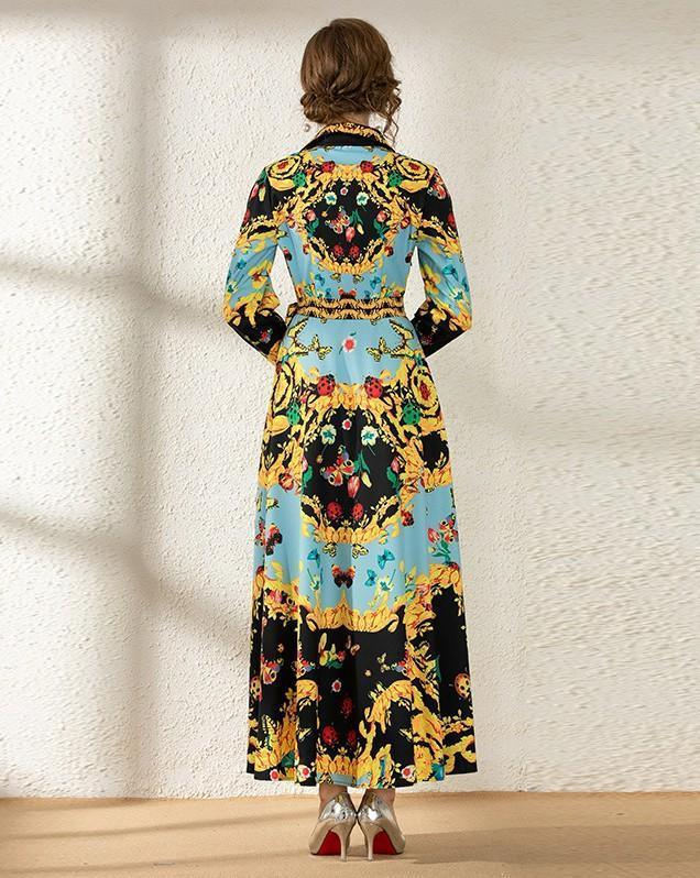 Royal Court Printed Long Sleeve Fashion Dress