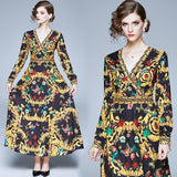 Fashion V-neck Royal Court Print Long-sleeved Slim Dress