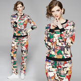 Fashion Round Neck Printed Sleeve Long Sleeve + Trousers Casual Set