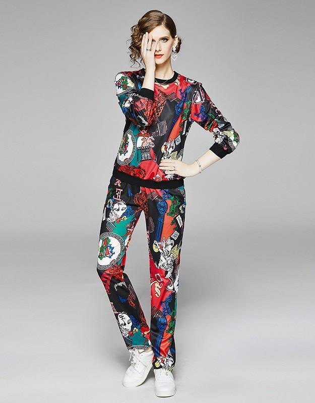Fashion Round Neck Print Long Sleeve Top + Straight Pants