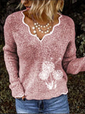 Explosion Style V-Neck Knitted Pullover Sweater Dandelion Embroidered Sweater
