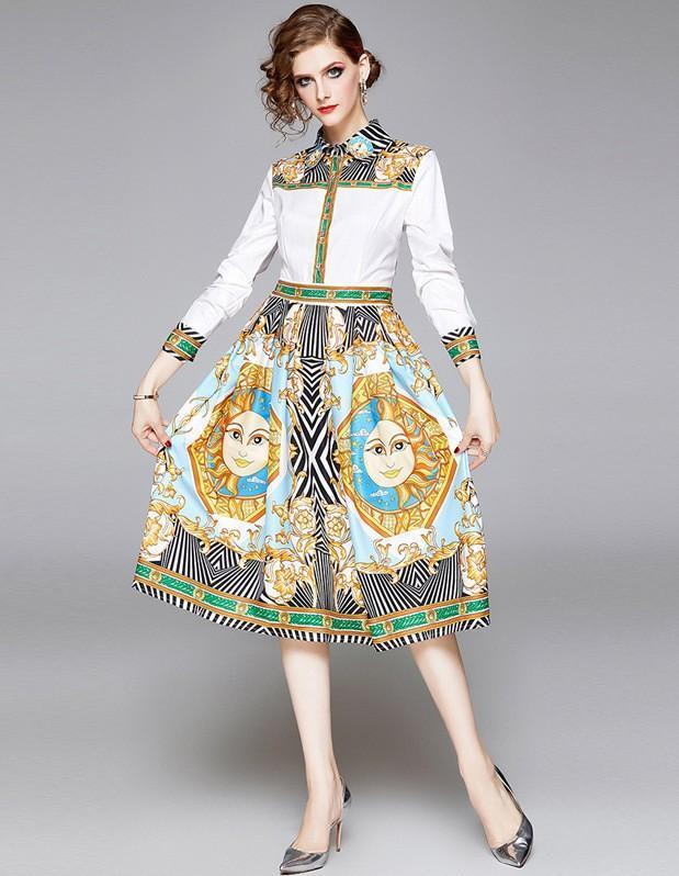 New Fashion Printed Long Sleeve Dress