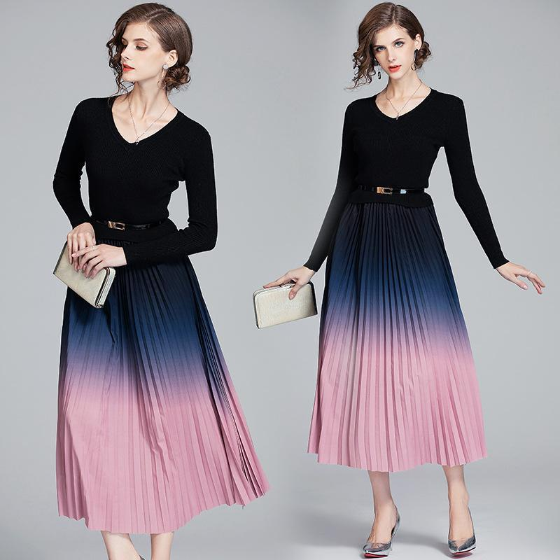 V-neck Knit Stitching Long-sleeved Gradient Color Dress