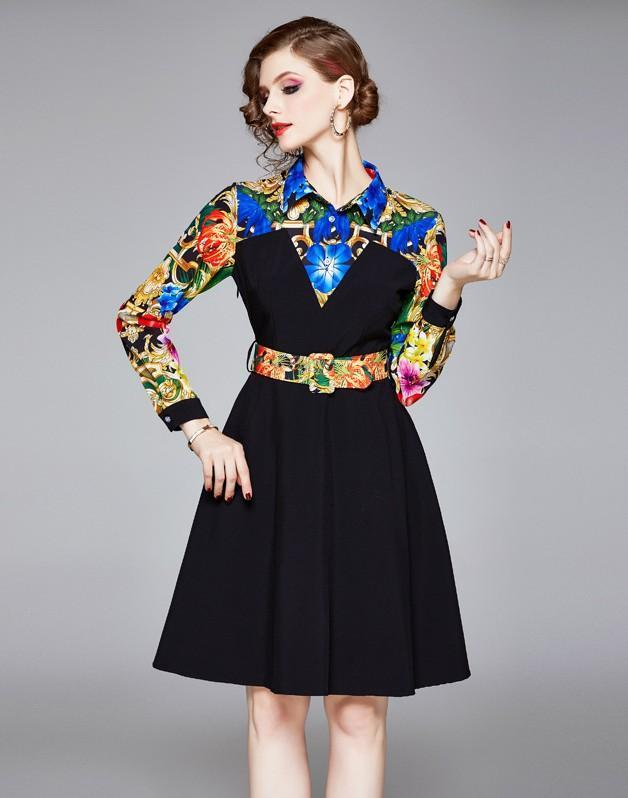 Fashion Lapel Royal Court Print Midi Dress