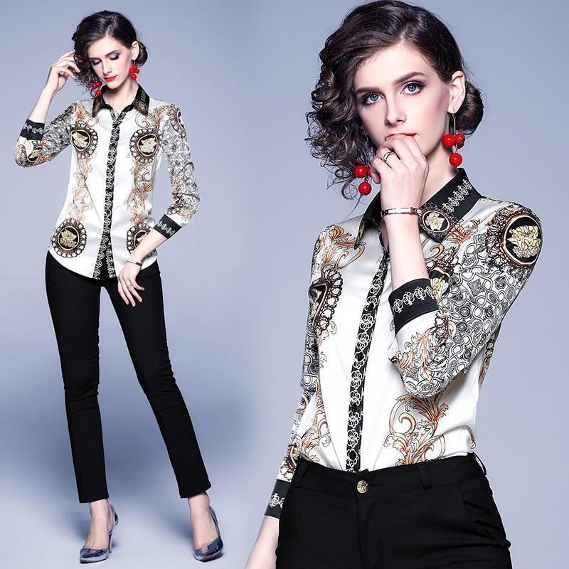 Lapel Fashion Print Long Sleeve Shirts