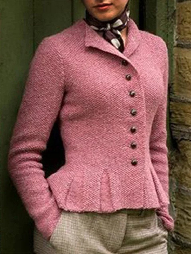 Vintage Cotton-Blend Cardigan Single Breasted Coat-Three Colors