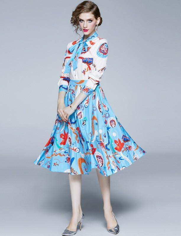 Fashion Long Sleeve Print Slim Pleated Dress