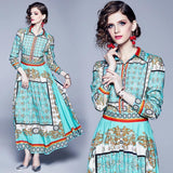 Retro Court Printed Long-sleeved Dress