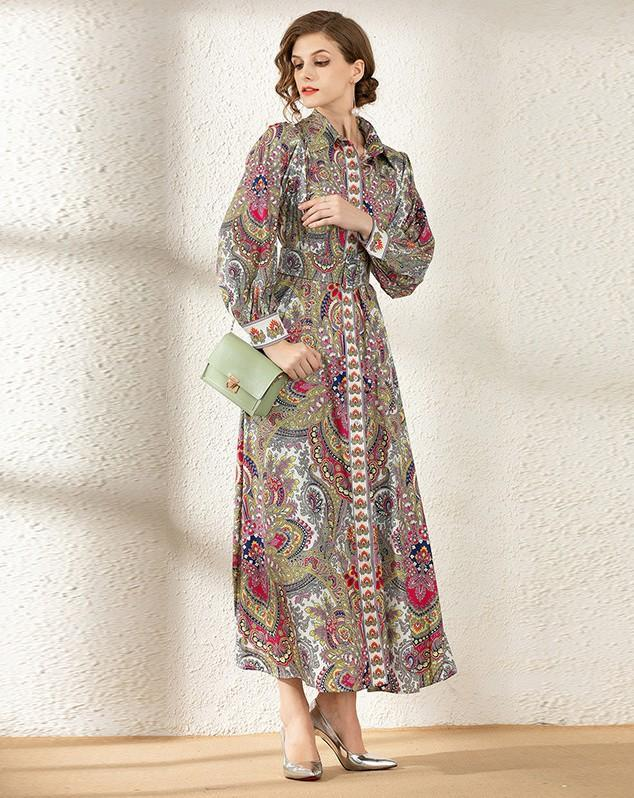 Classic Court Printed Long Sleeve Shirt Collar Dress