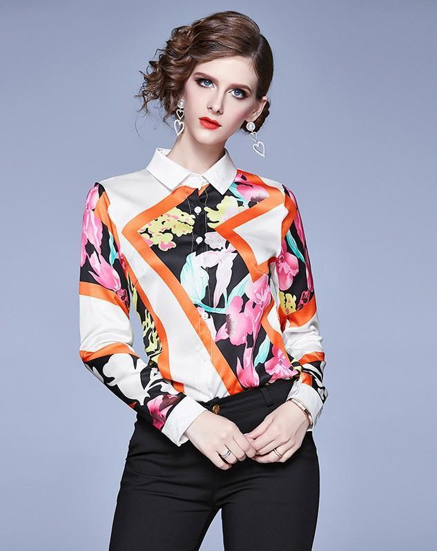 Fashion Print Lapel Long Sleeve Single-Breasted Shirt