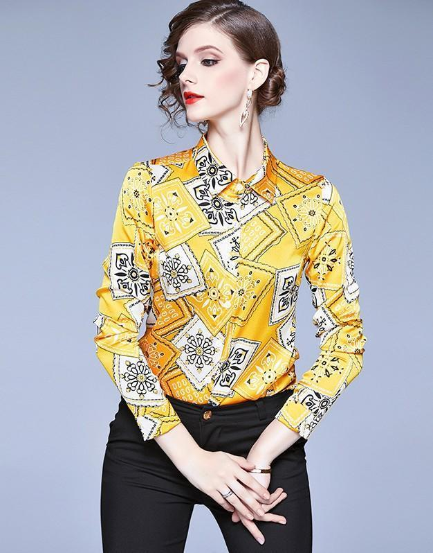 Lapel Print Long Sleeve Joker Shirt