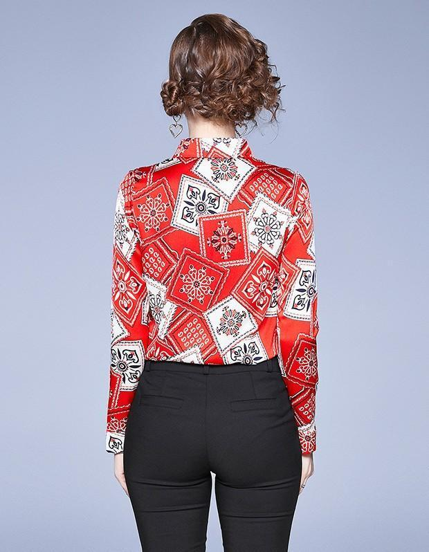 Fashionable Lapel Long-Sleeve Printed Single-Breasted Shirt