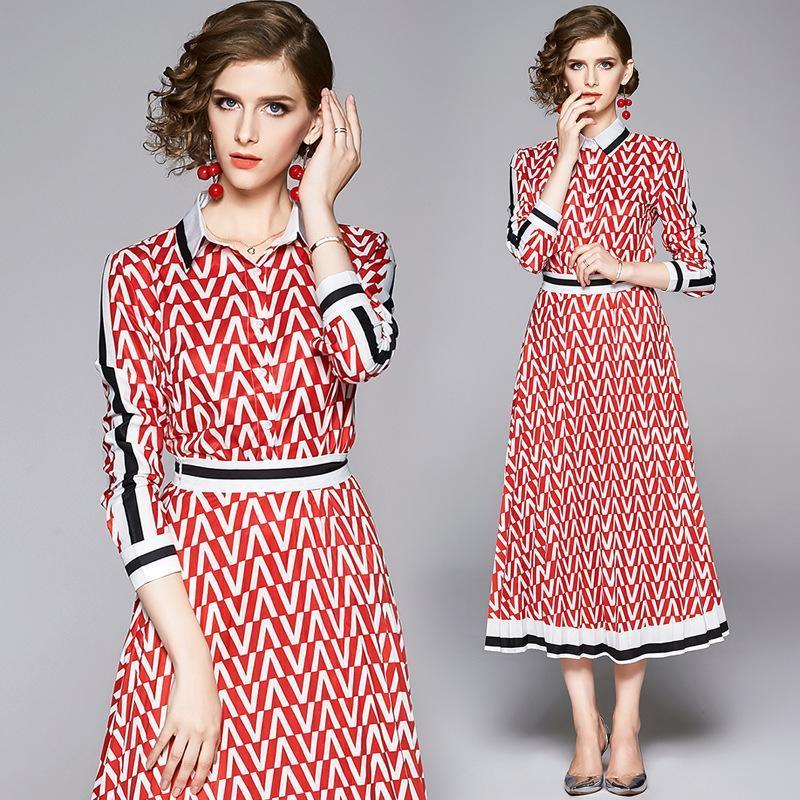 Fashion Print Lapel Long Sleeve Slim Shirt + Pleated Mid Length Skirt