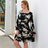 Long Sleeve Floral Print Casual Boho Black Mini Dress XL-4XL