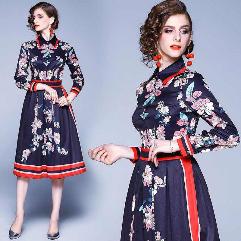 Fashion Print Lapel Long Sleeve Slim Midi Length Dress
