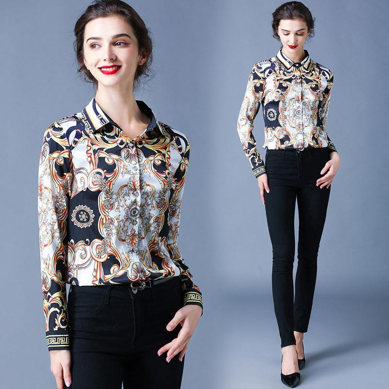 Fashion Lapel Print Single-Breasted Long Sleeve Shirt