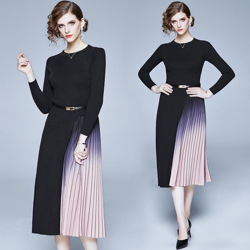 Fashion Round Neck Knit Stitching Midi Dress