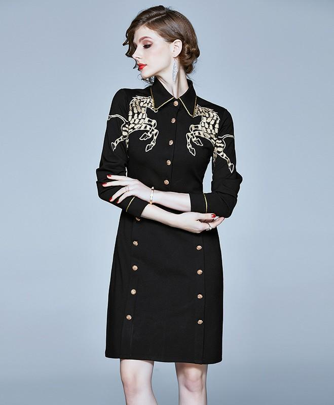 Lapel Embroidered Slim Baggy Hip Dress