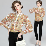 Puff Lantern Long Sleeve Women's Blouses