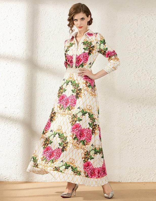 Retro Flower Print Lapel Long Sleeve Slim Dress