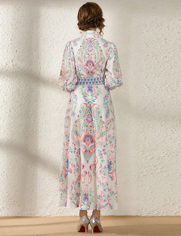 Retro Court Vintage Printed Long Sleeve Dress