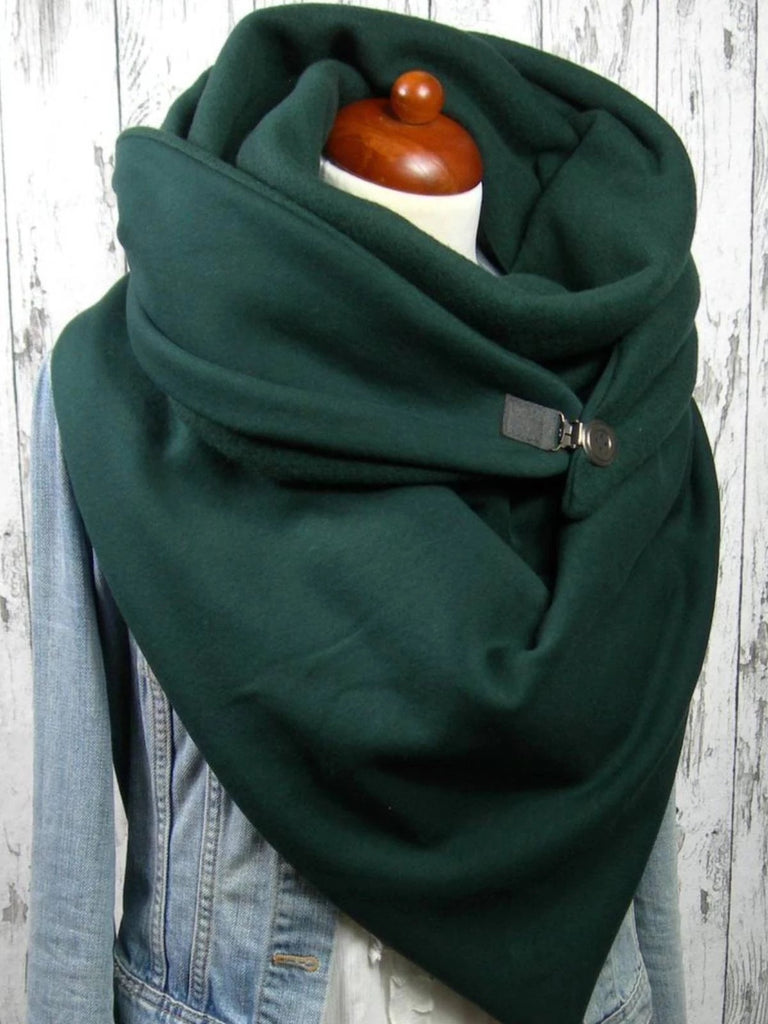 Green Plain Cotton Casual Scarves
