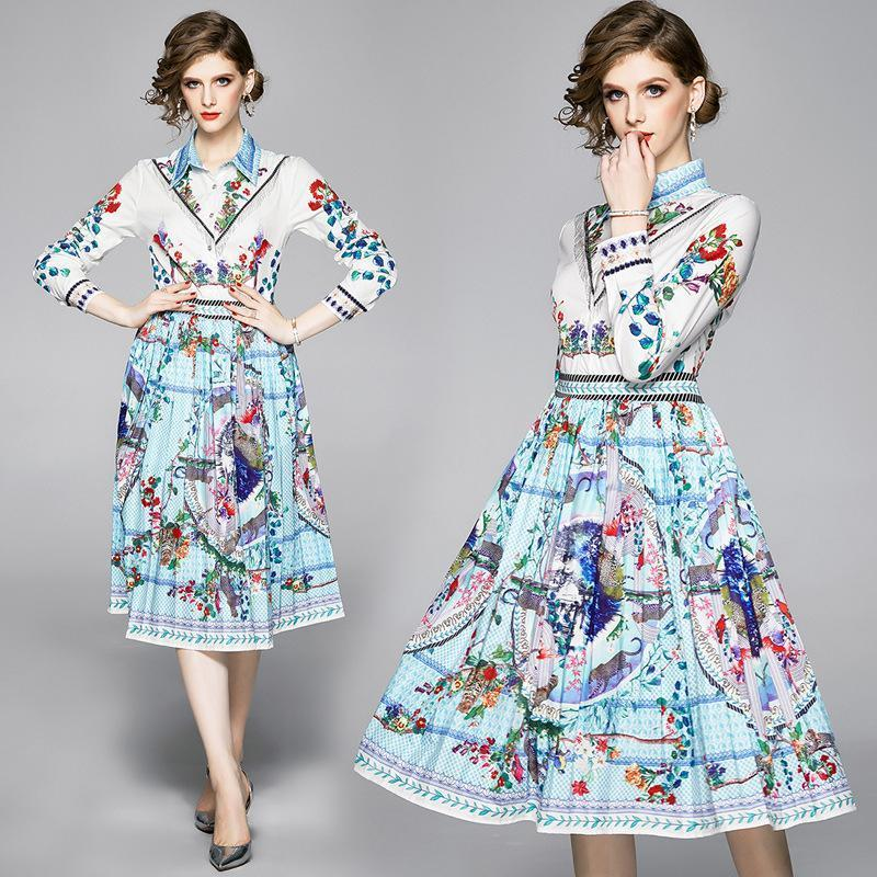 Fashion Floral Print Pleated Midi Dress