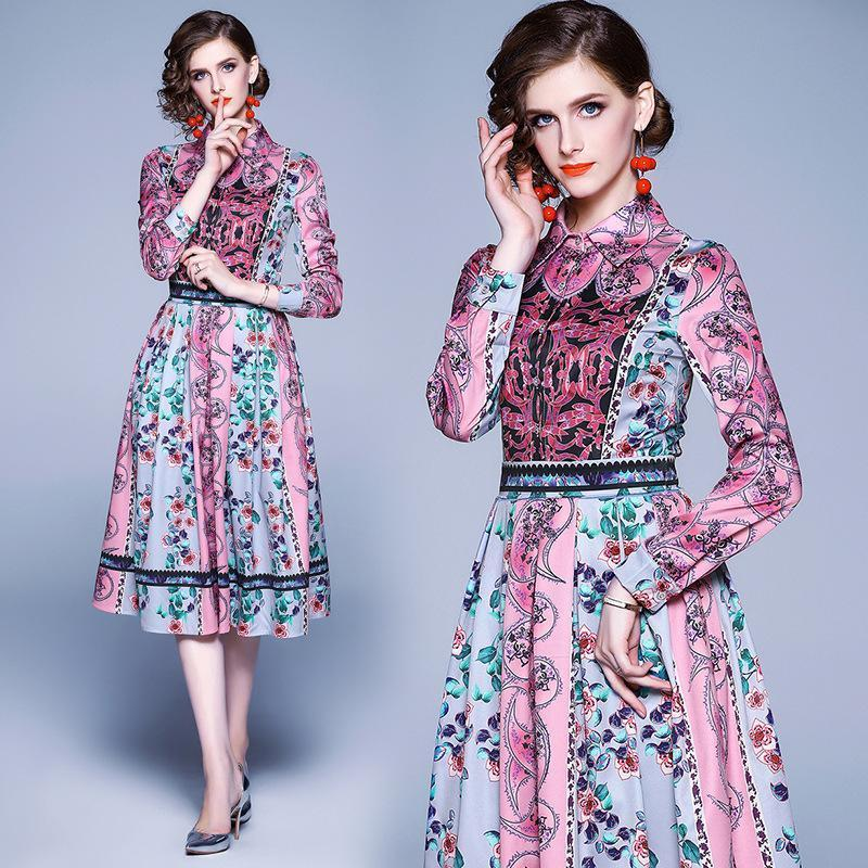 Lapel Fashion Print Long Sleeve Slim-Fit Dress