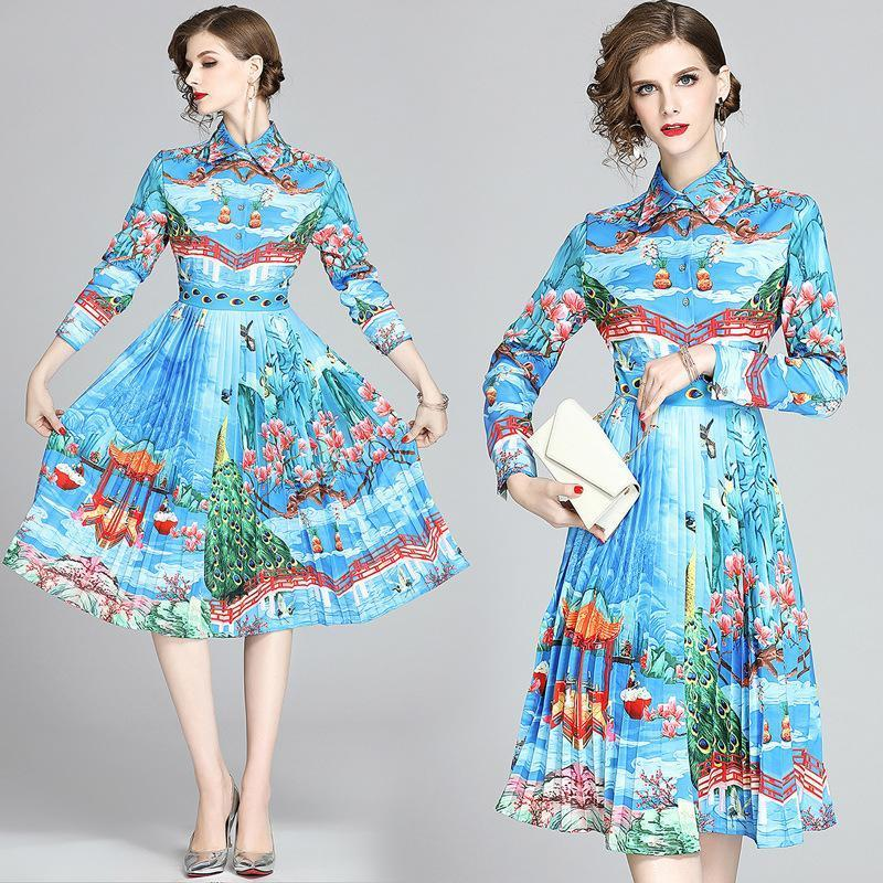Fashion Print Lapel Long Sleeve Slim Mid Pleated Dress