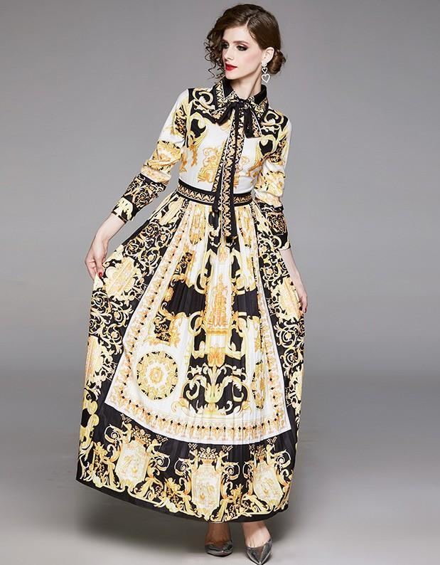 New Fashion Palace Print Long Sleeve Slim Pleated Dress