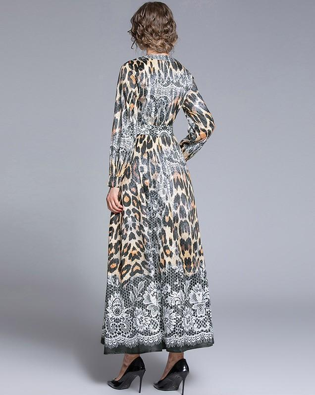 Fashion V-Neck Leopard Print Long Sleeve Dress