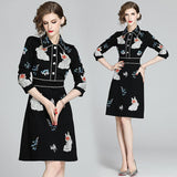 Lapel Heavy Embroidered Black Slim Fit A-Line Dress