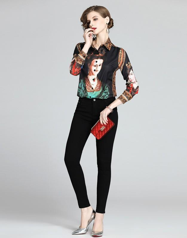 Court Vintage Queen Print Long Sleeve Lapel Shirts