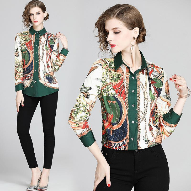 Floral Print Lapel Long Sleeve Shirt