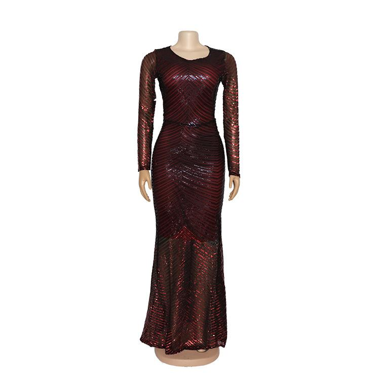 Color-block High-stretch Beaded Long Sleeve Maxi Dress L-XXL