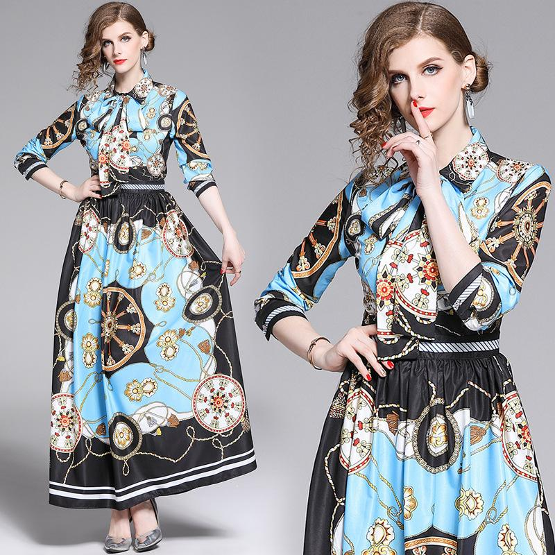 New Lapel Print Runway Bow Long Sleeve Dress
