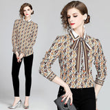 Elegant Fashion Lapel Print Long Sleeve Shirt