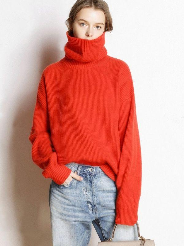 Loose Knitted Full Sleeve Casual Sweater Short High Collar Pullover Sweater