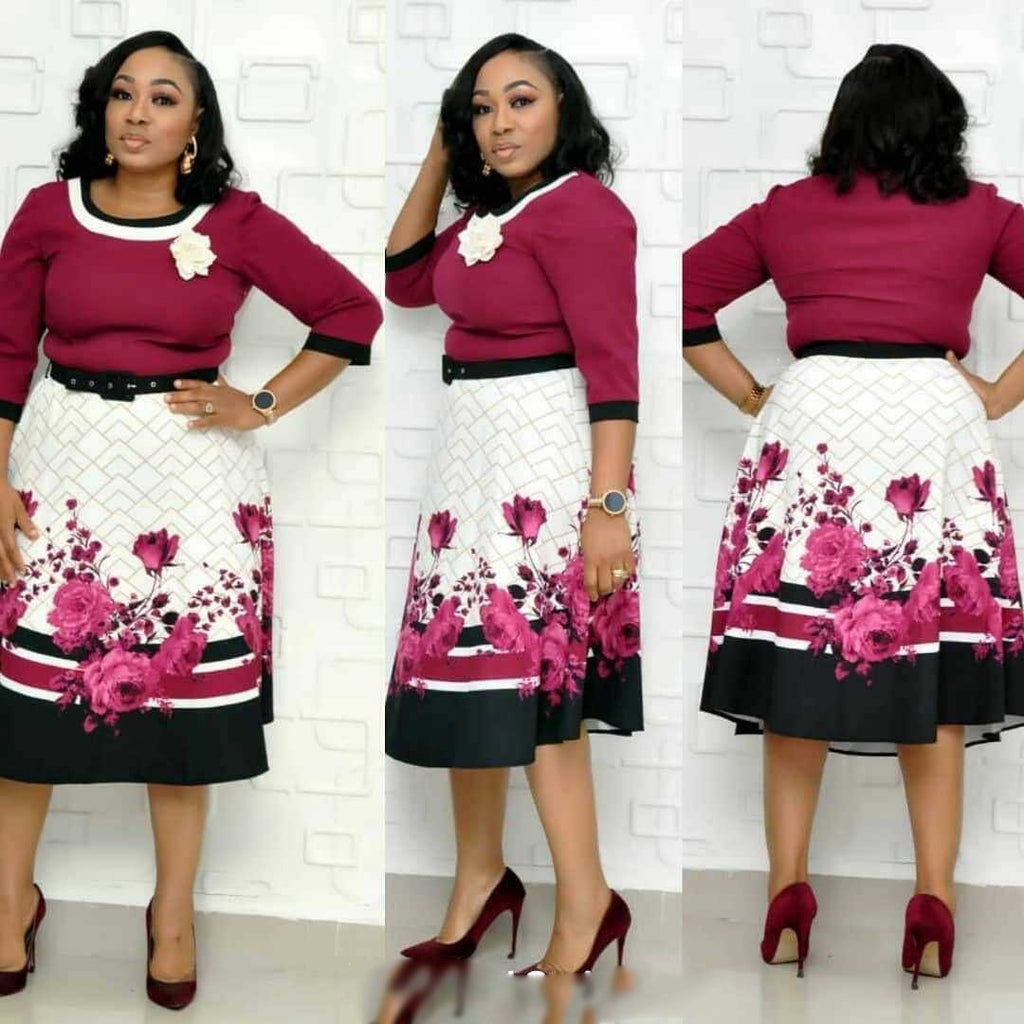 Elegent Printing Plus Size Knee-length Dress L-3XL