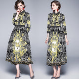 Royal Court Floral Print Pleated Dress