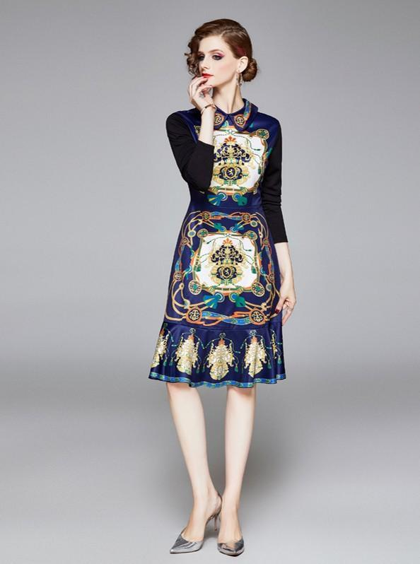 Lapel Fashion Print Long Sleeve Slim-Fit Mermaid Dress