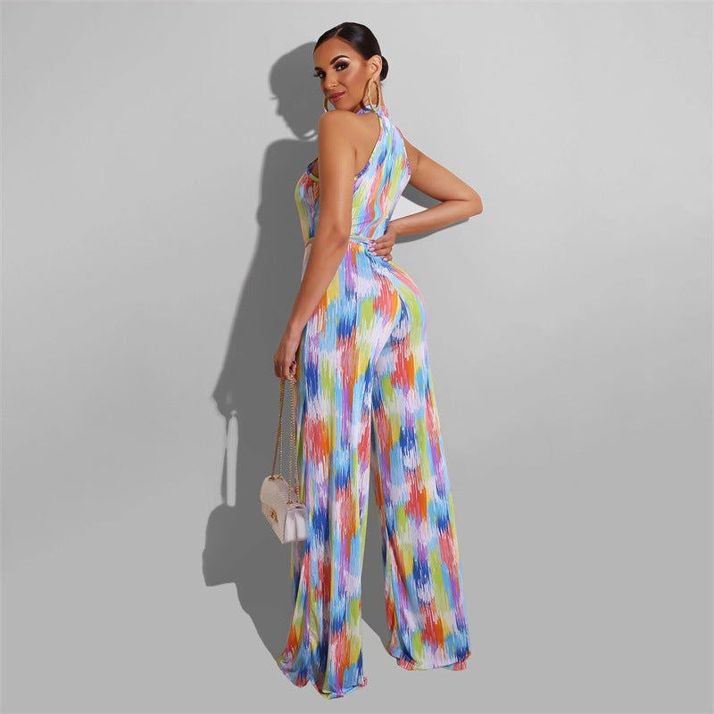 Printed Casual Stripe Women's Jumpsuit