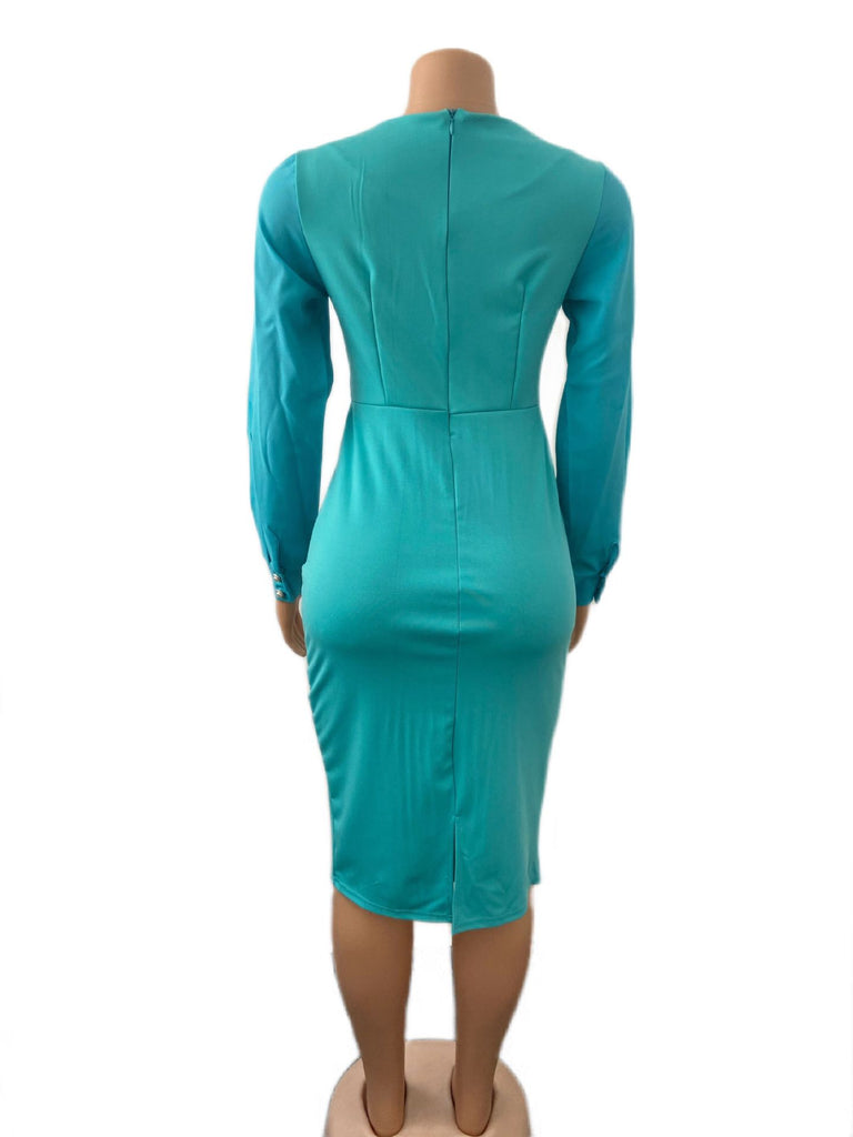 Deep V Neck Long Sleeve Plus Size Midi Dress