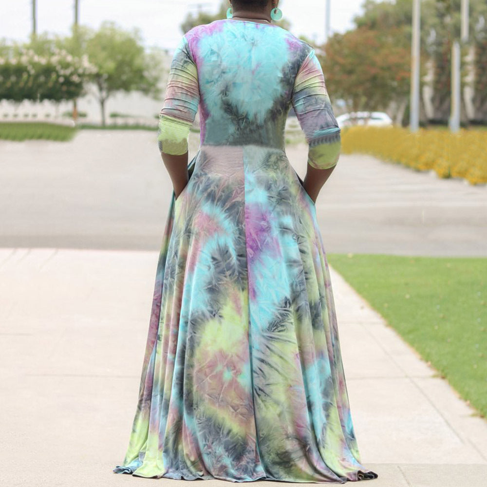 Plus Size Print V Neck Maxi Dress
