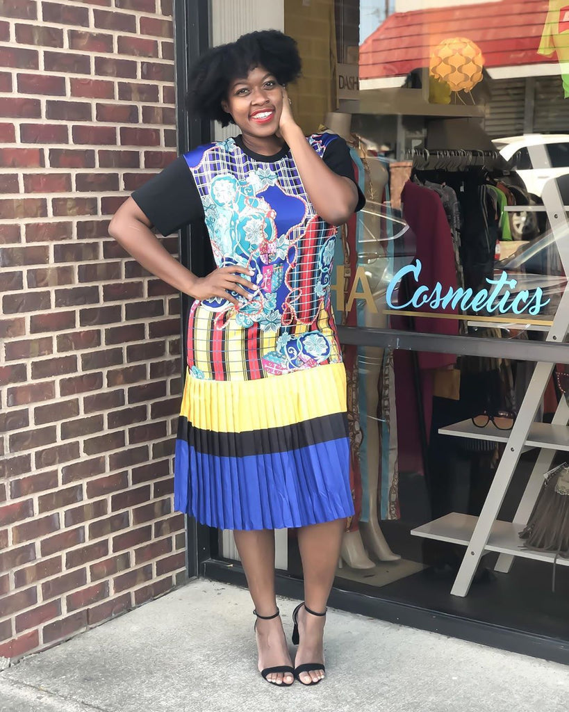 Plus Size Print Midi Dress XL-4XL