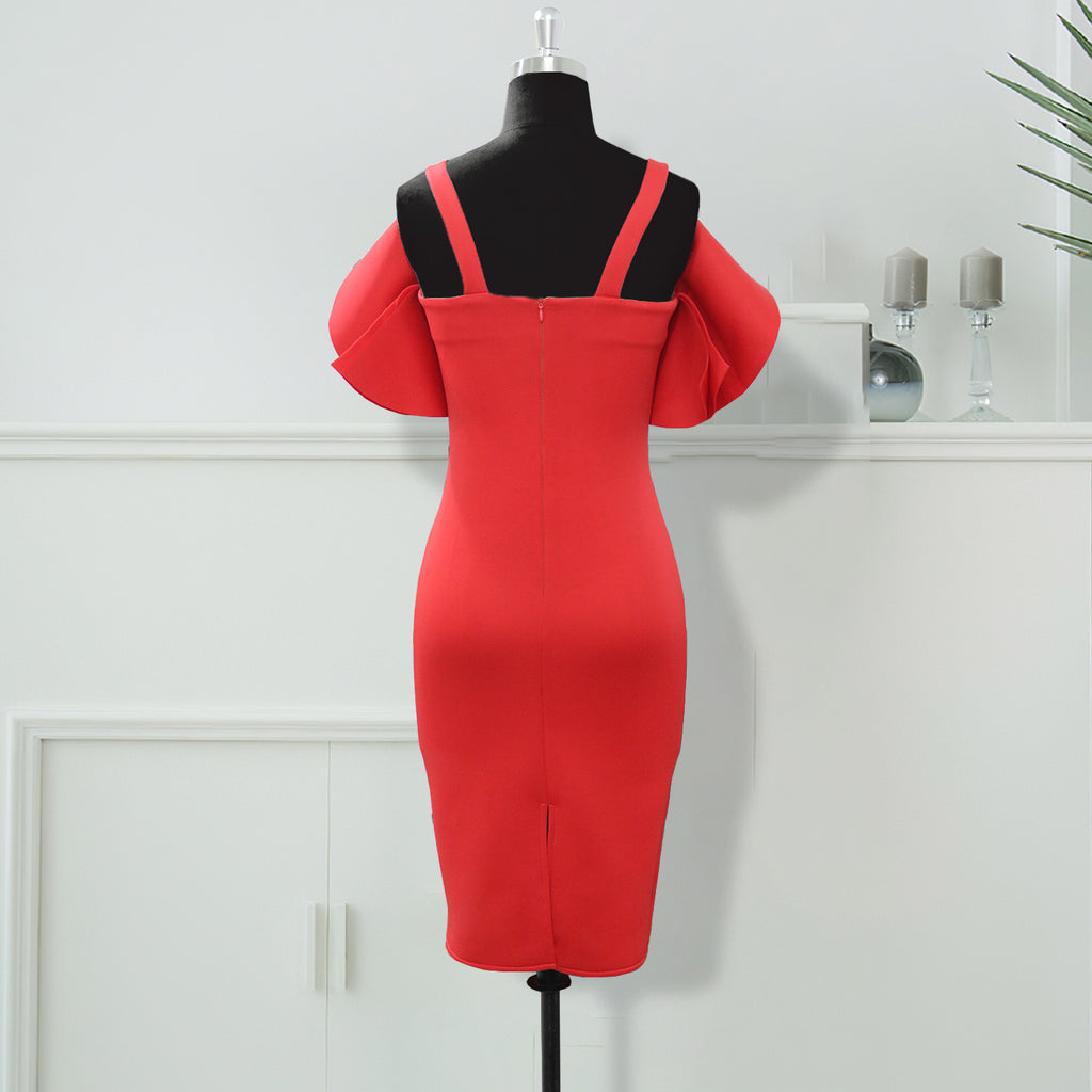 Plus Size Red Ruffles OL Style Midi Dress S-2XL